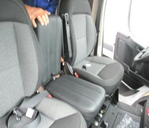 Promaster 3rd man seat fits between the driver and passenger